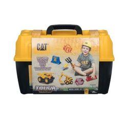 Bộ đồ chơi 2 xe công trình, nón, dụng cụ và phụ kiện chơi ng