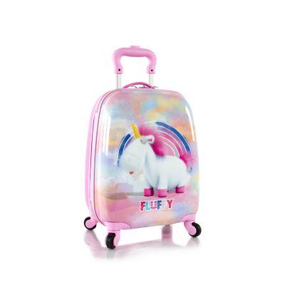 Vali kéo xoay 360 hình kì lân Fluffy màu hồng - 18 inch