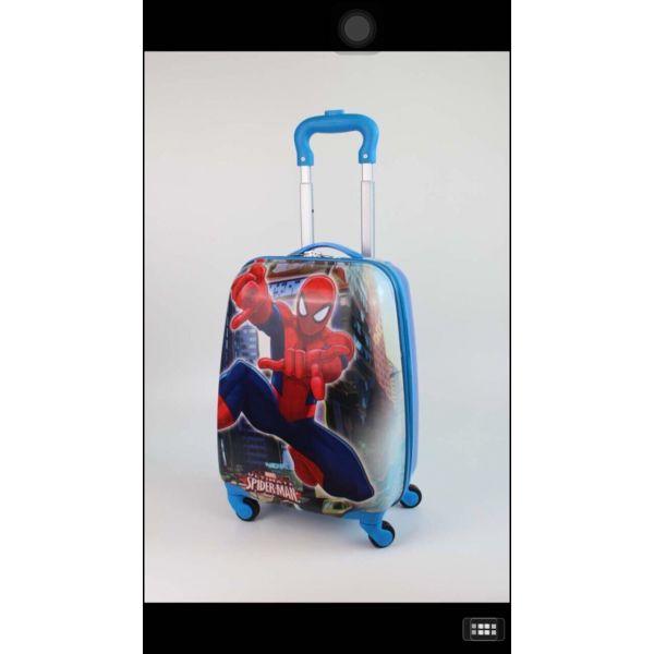 Vali kéo hình Spiderman màu xanh SM18 - oval - 16 inch